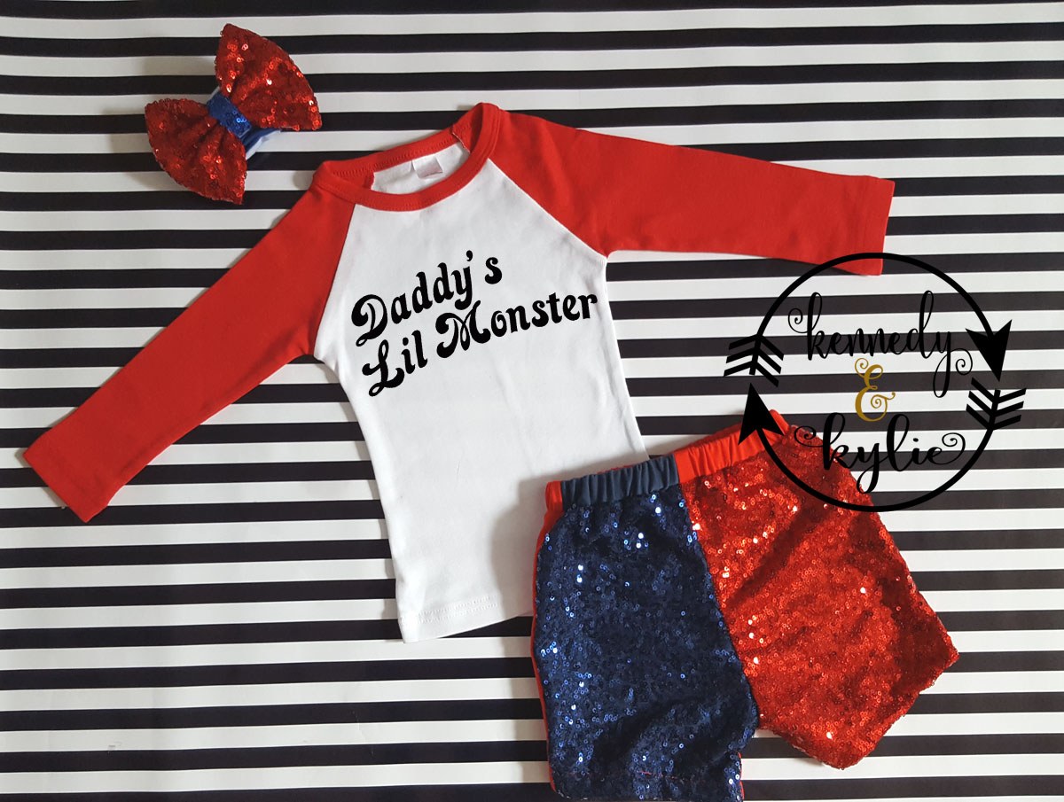 Cute Harley Quinn Shorts Costume For Baby Girls and Little Girls