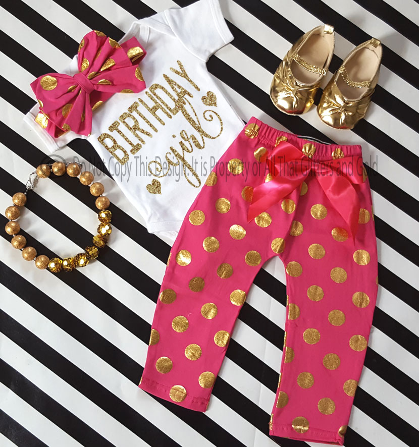 One Year Old Birthday Outfits - Hot Pink Gold Glitter Polka Dot ...
