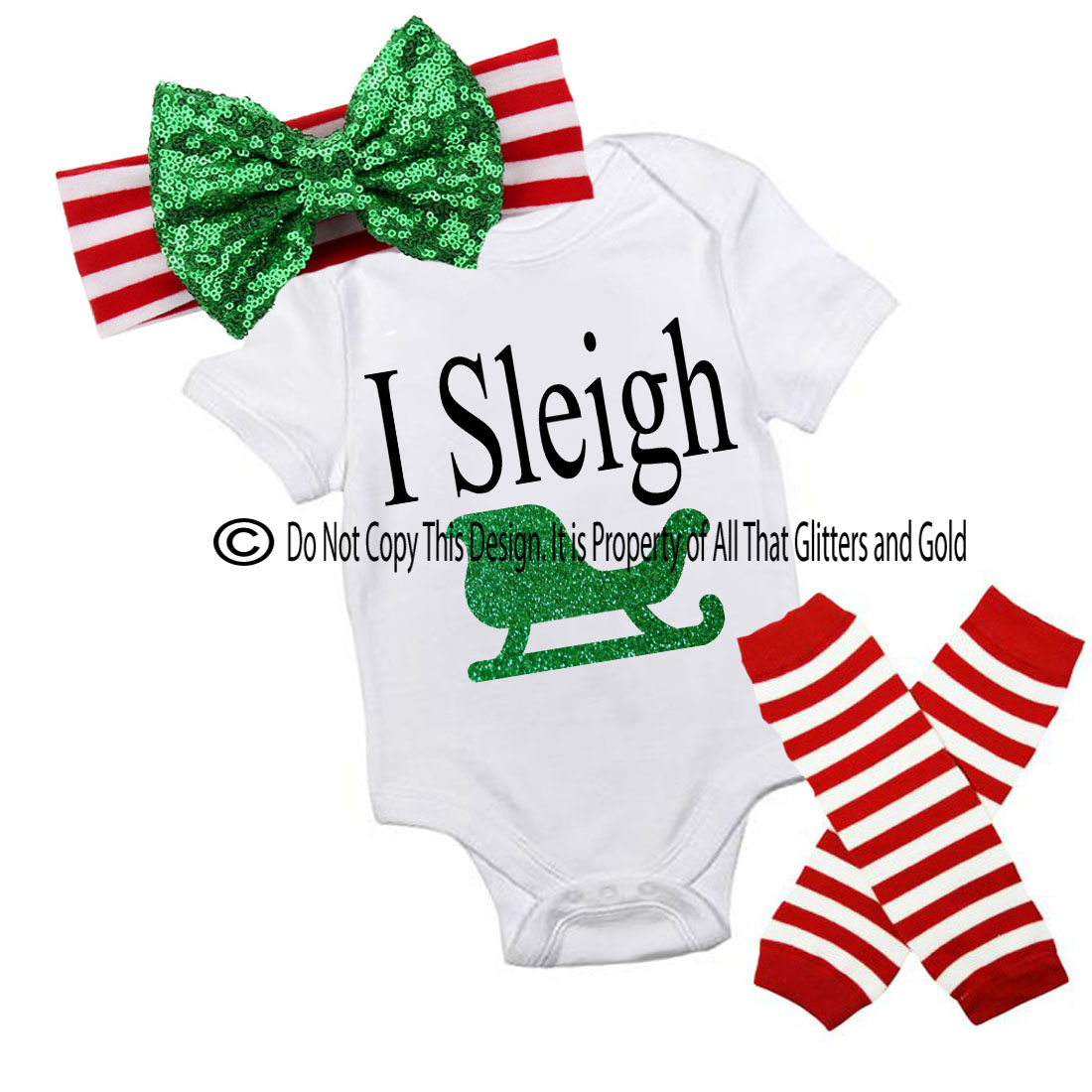Cute 3 piece I Sleigh Slay Christmas Outfits For Baby Girls Toddler ...