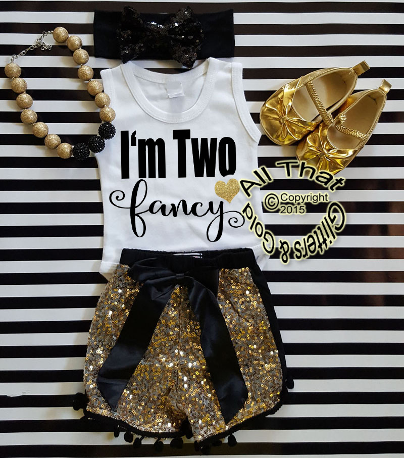 Custom Order For Lavonna  Black and Gold I'm Two Fancy With Gold Sequin Pom Pom Shorts
