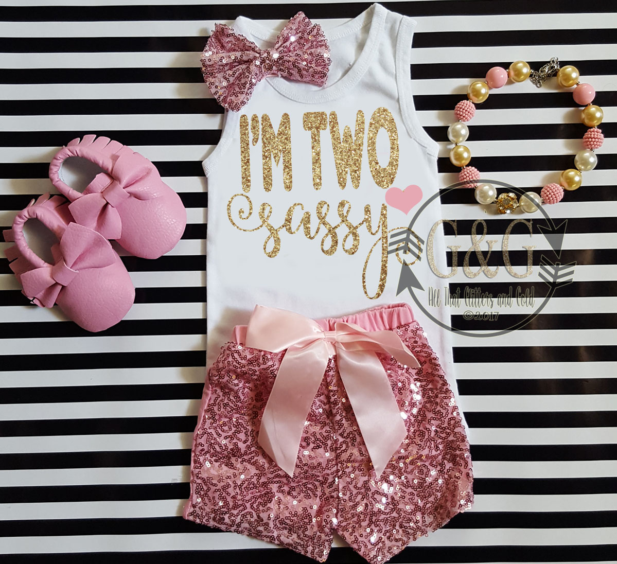 Pink and Gold I'm Two Sassy Shirt With Pink Sequin Shorts