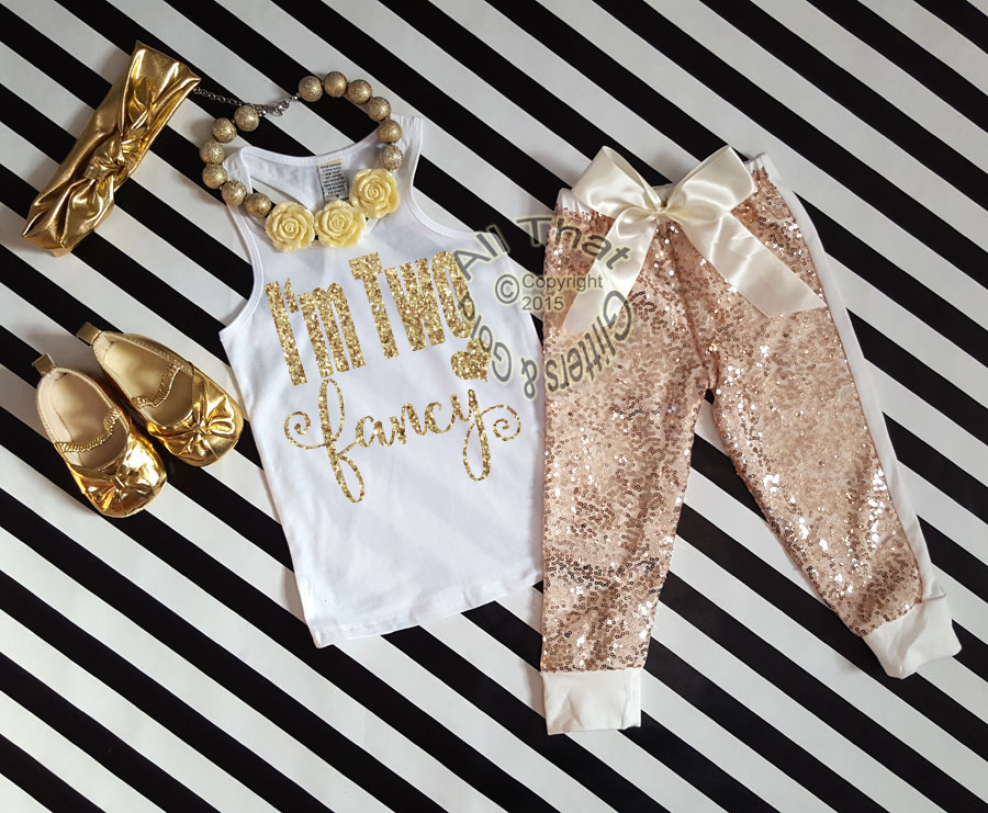Ivory and Gold I'm Two Fancy Sequin Birthday Pants Outfit