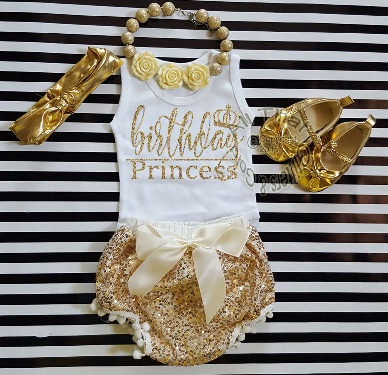 Ivory and Gold Birthday Princess Outfit With Gold Sequin Pom Pom Bloomers Ages 1 to 3