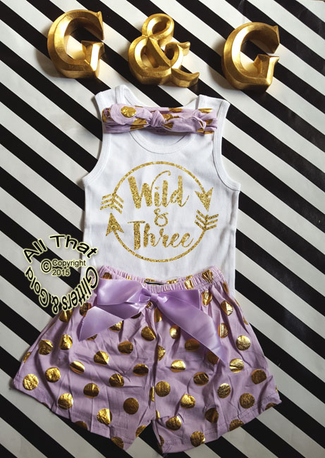 Wild and Three Lavender and Gold Glitter 3rd Birthday Pom Pom Shorts Outfits
