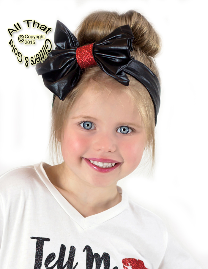 Black and Red Glitter and lFaux Leather Baby and Little Girls Big Bow  Headbands ff504c4b20c
