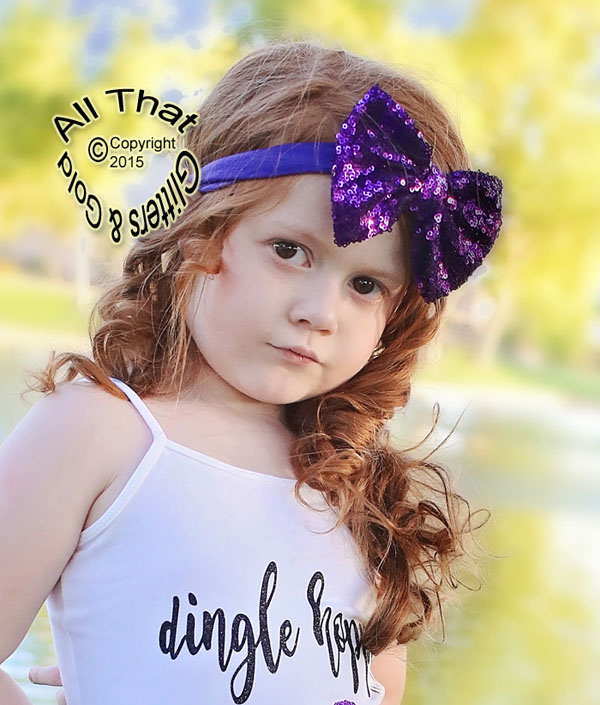 Baby and Little Girls Purple Sequin 4.5 Inch Big Bow Headbands