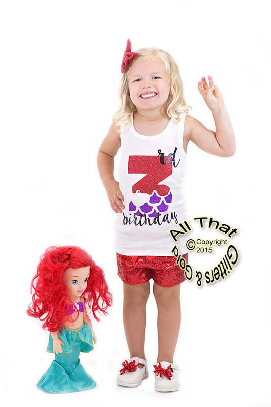 Little Mermaid Glitter 3rd Birthday Summer Shorts Outfits