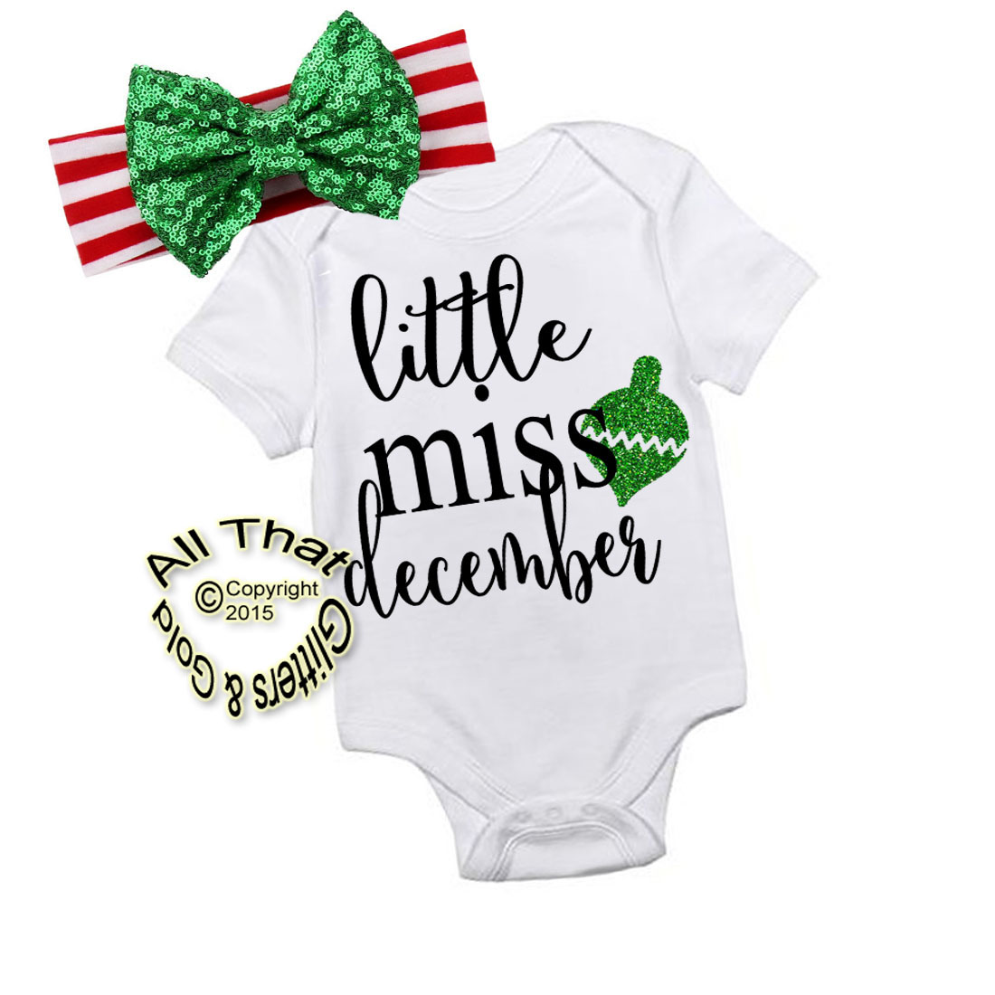 Glitter Little Miss December Handmade Christmas Outfit For Baby Girls