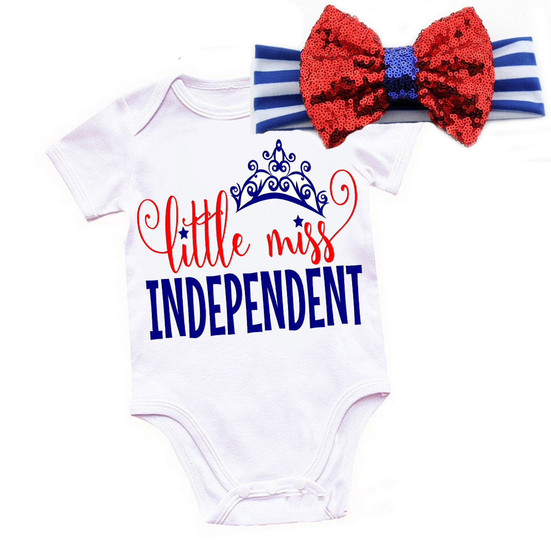 c24eae85d0c1 onefun-23 Little Miss Independent 4th of July Shirt or Outfit For Girls