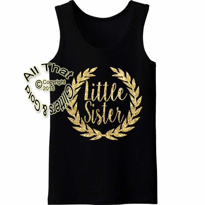 Black and Gold Glitter Little Sister Baby Girl and Little Girls Shirts