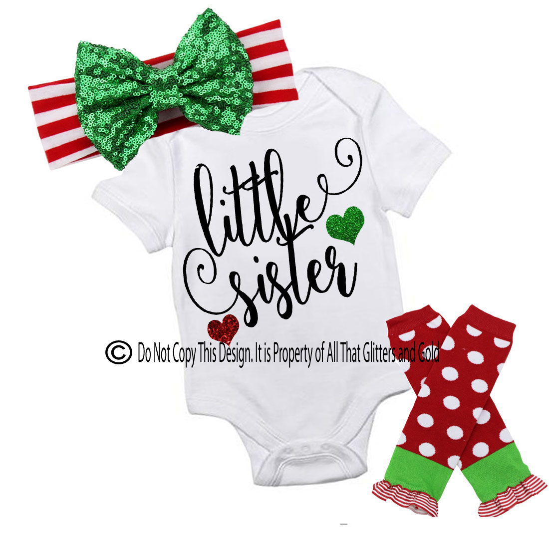 Glitter Little Sister Handmade Christmas Outfit For Baby Girls and Little Girls