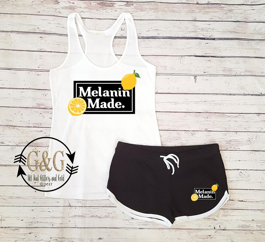 Cute Melanin Made Lemonade Summer Shorts Outfit Set For Juniors and Women