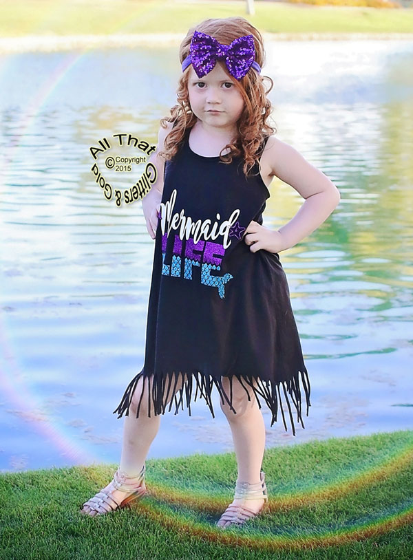 Mermaid Life Black Fringe Dress For Baby Girls Little Girls