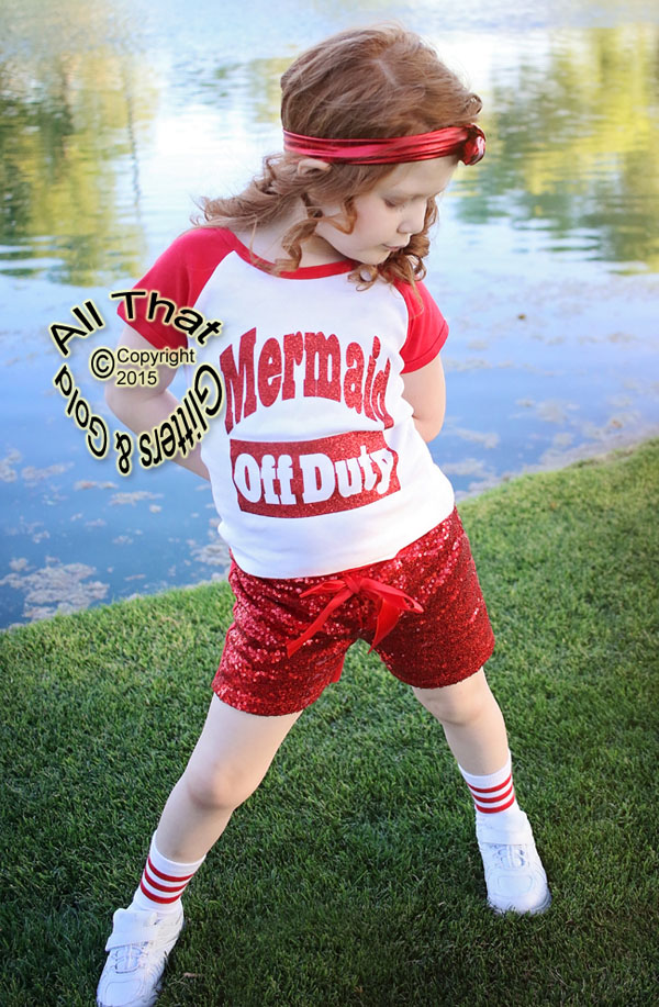 Red and White Mermaid Off Duty Baby Girls and Little Girls Shirt
