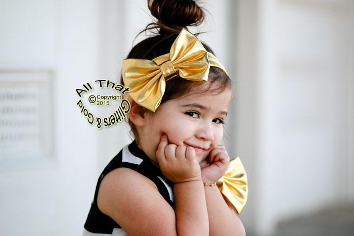 Metallic Gold Baby and Little Girls Big Bow Headbands