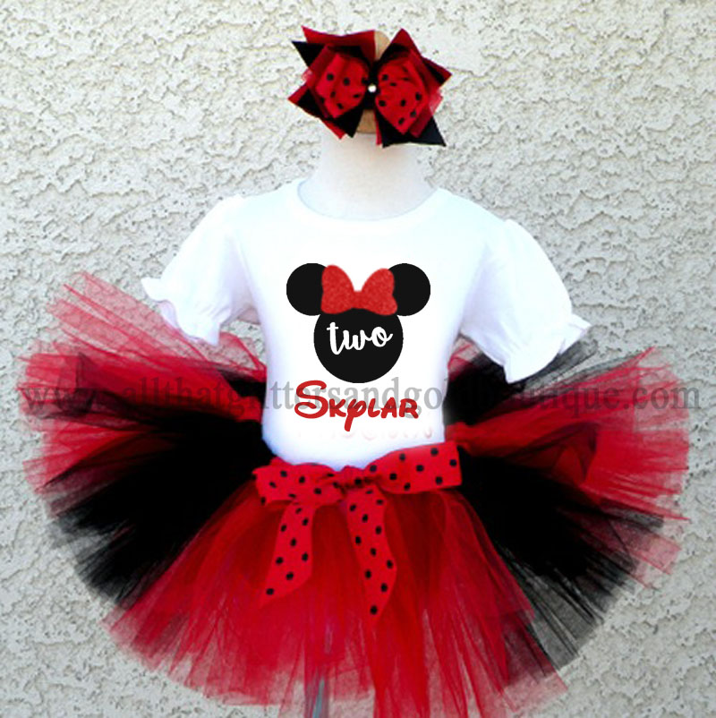 580e0e22c0898 Black, Red and White Minnie Inspired Birthday Tutu Outfit For All Ages