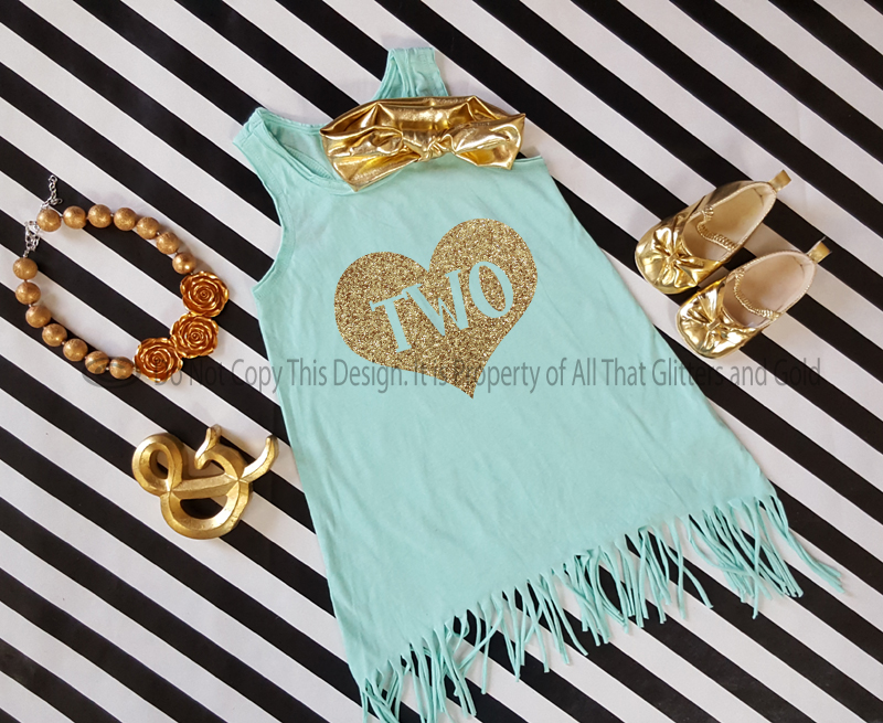 Mint and Gold Birthday Age Baby Girls and Little Girls Fringe Dress Age 1-6