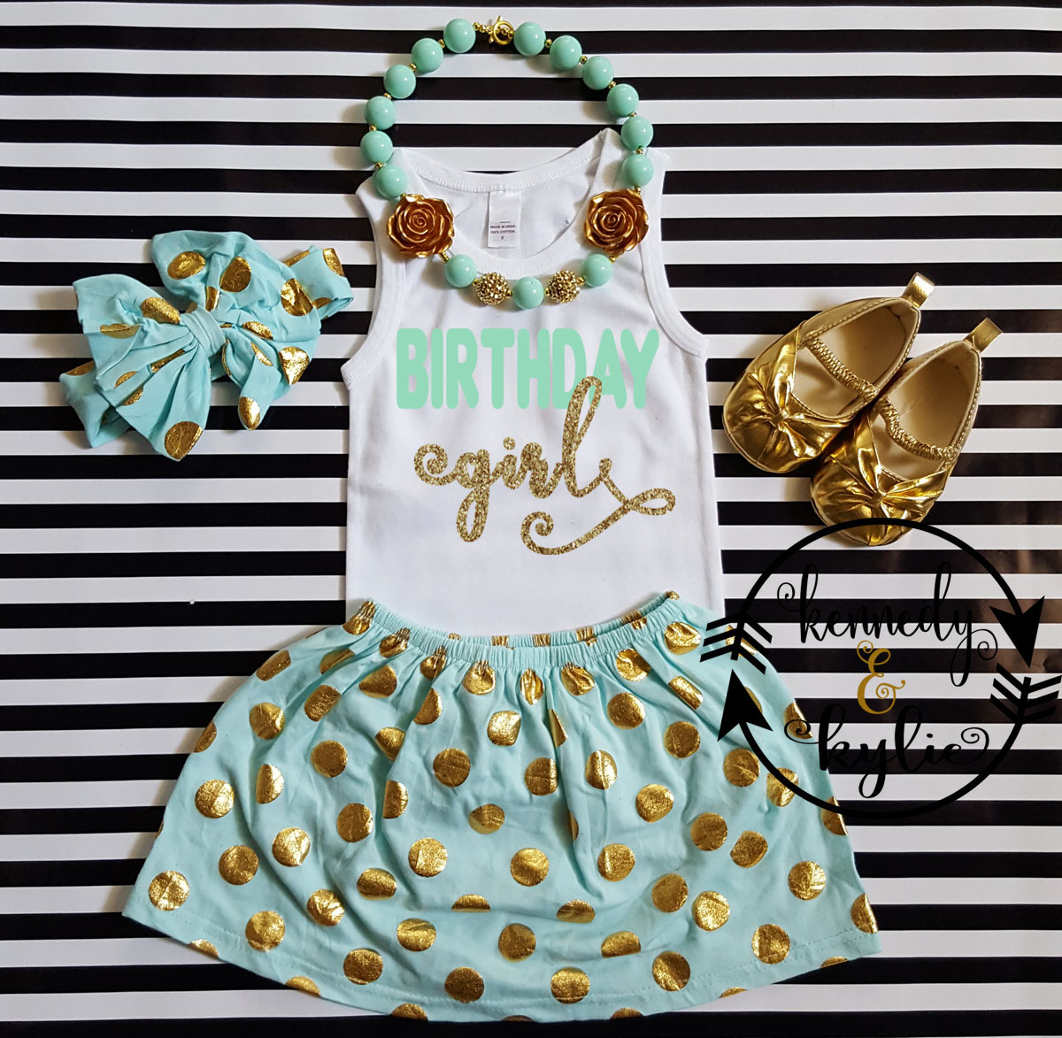 Mint and Gold Polka Dot Birthday Girl Outfit For Girls Ages 2 to 8