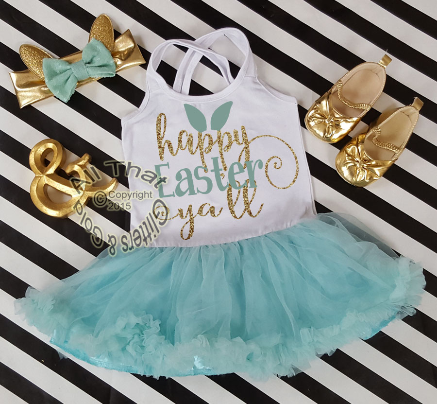 Mint and Gold Glitter 2pc Happy Easter Tutu Dresses For Toddler Girls Age 1-4