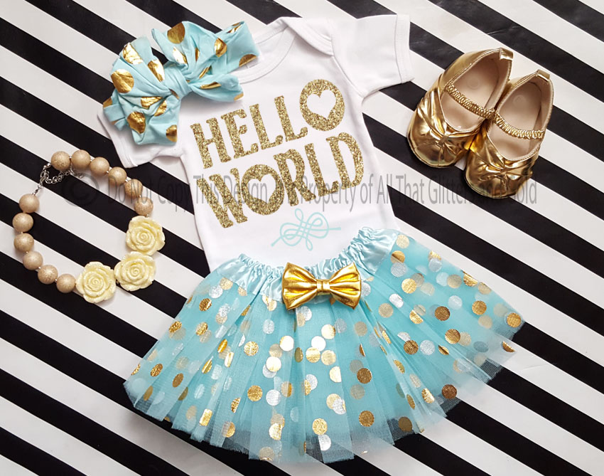 Mint and Gold Hello World Going Home Tutu Outfit For Baby Girl