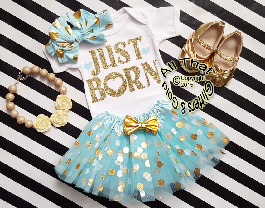Mint and Gold Just Born Going Home Tutu Outfit For Baby Girl