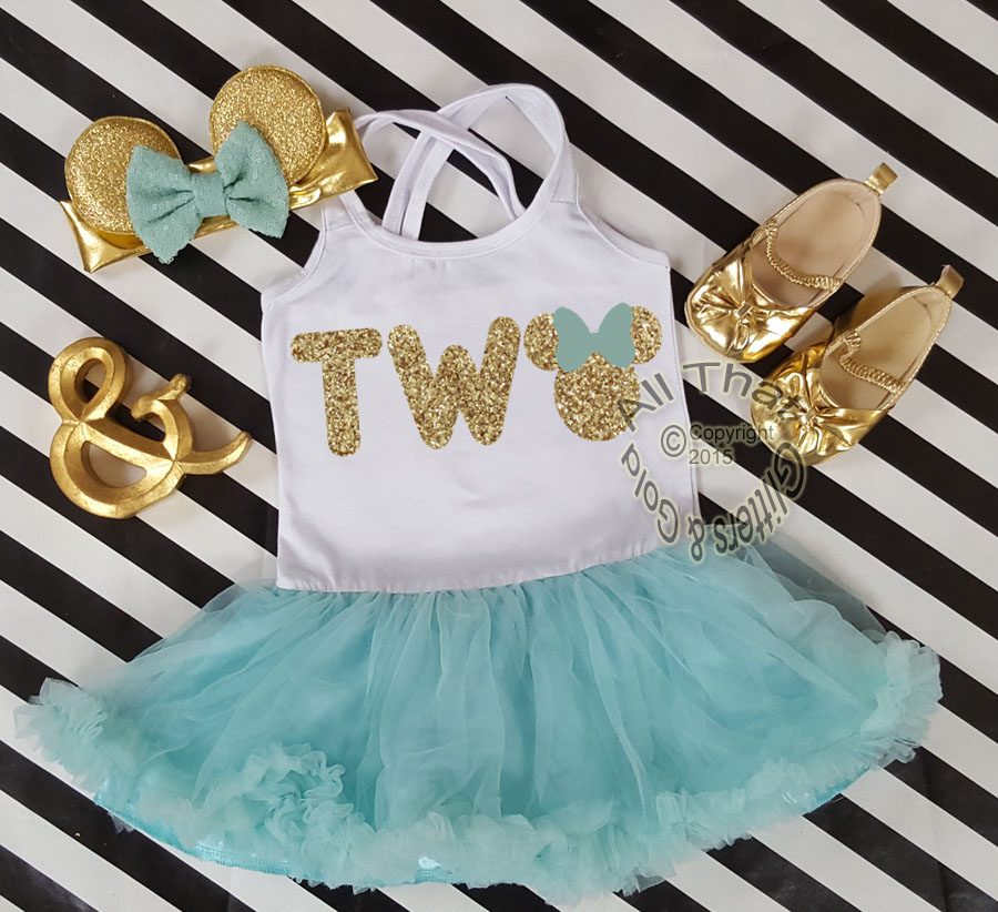 83eaeef12 Mint and Gold Glitter 2pc Minnie Two Year Old Birthday Tutu Dresses For Toddler  Girls