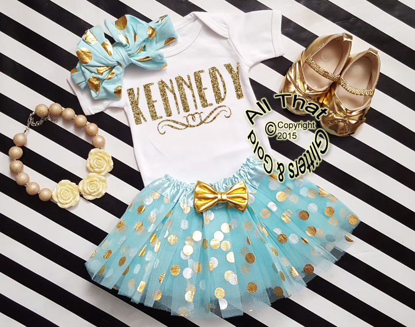 Personalized 3pc Mint and Gold Tutu Outfit For Baby Girl and Toddler Girls