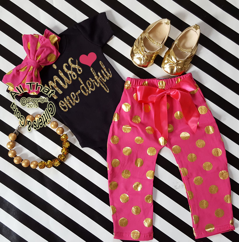 9a4be070e Hot Pink, Black and Gold Polka Dot Miss One-derful One Year Birthday Outfits  For Baby Girls