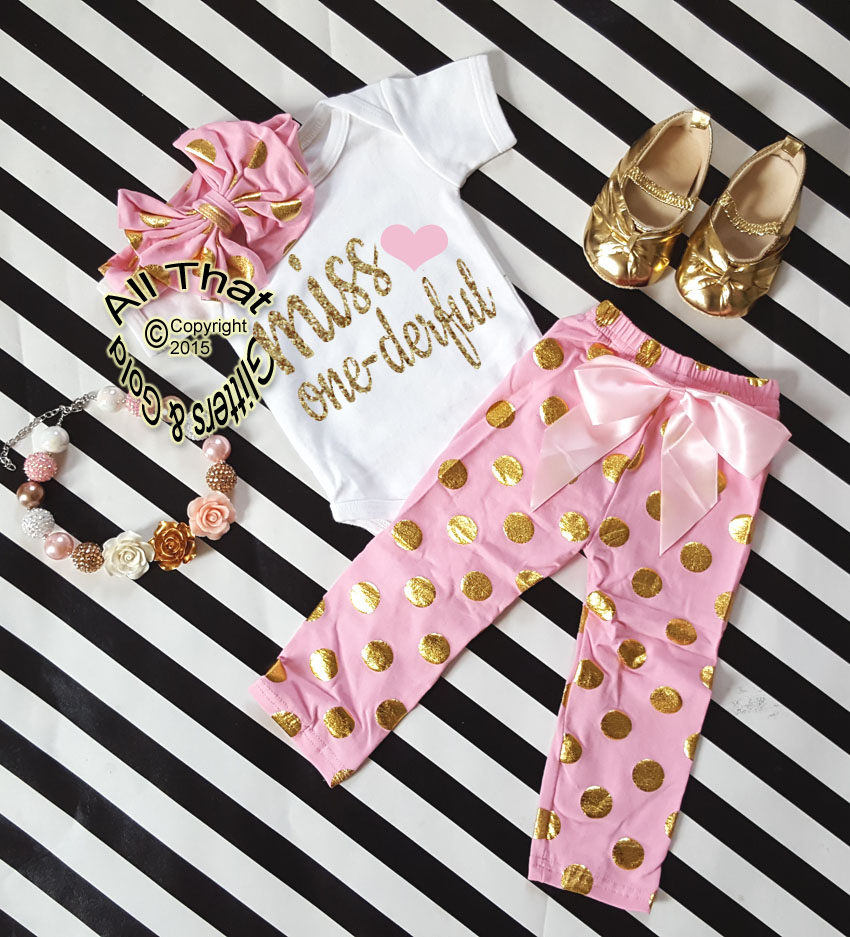 3e10bb19ea4c Pink and Gold Polka Dot Miss One-derful One Year Birthday Outfits For Baby  Girls