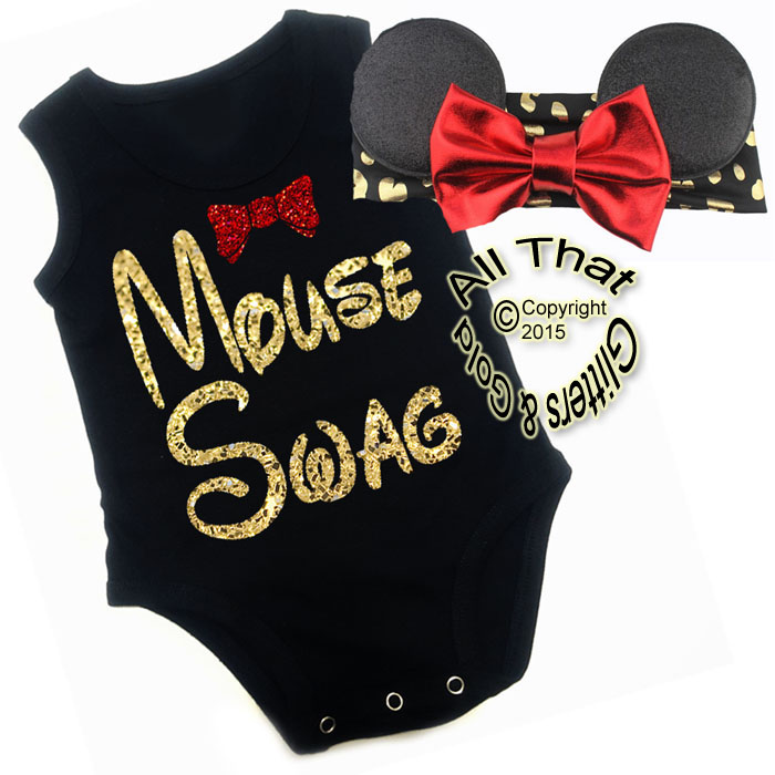 2 Pc Black, Red and Gold Glitter Mouse Swag Girls Outfit