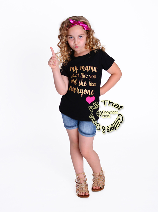 2 Pc Black and Gold Glitter My Mama Dont Like You Baby Girl Outfit