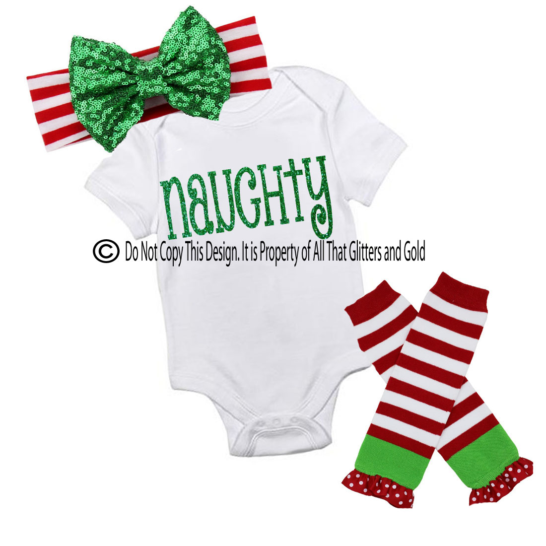 Glitter Naughty Handmade Christmas Outfit For Baby Girls and Little Girls