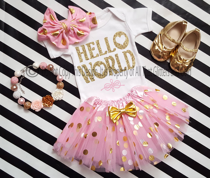 7feb5b60293a Going Home Outfit For Baby Girl - Pink Gold Hello World Tutu Onsie ...
