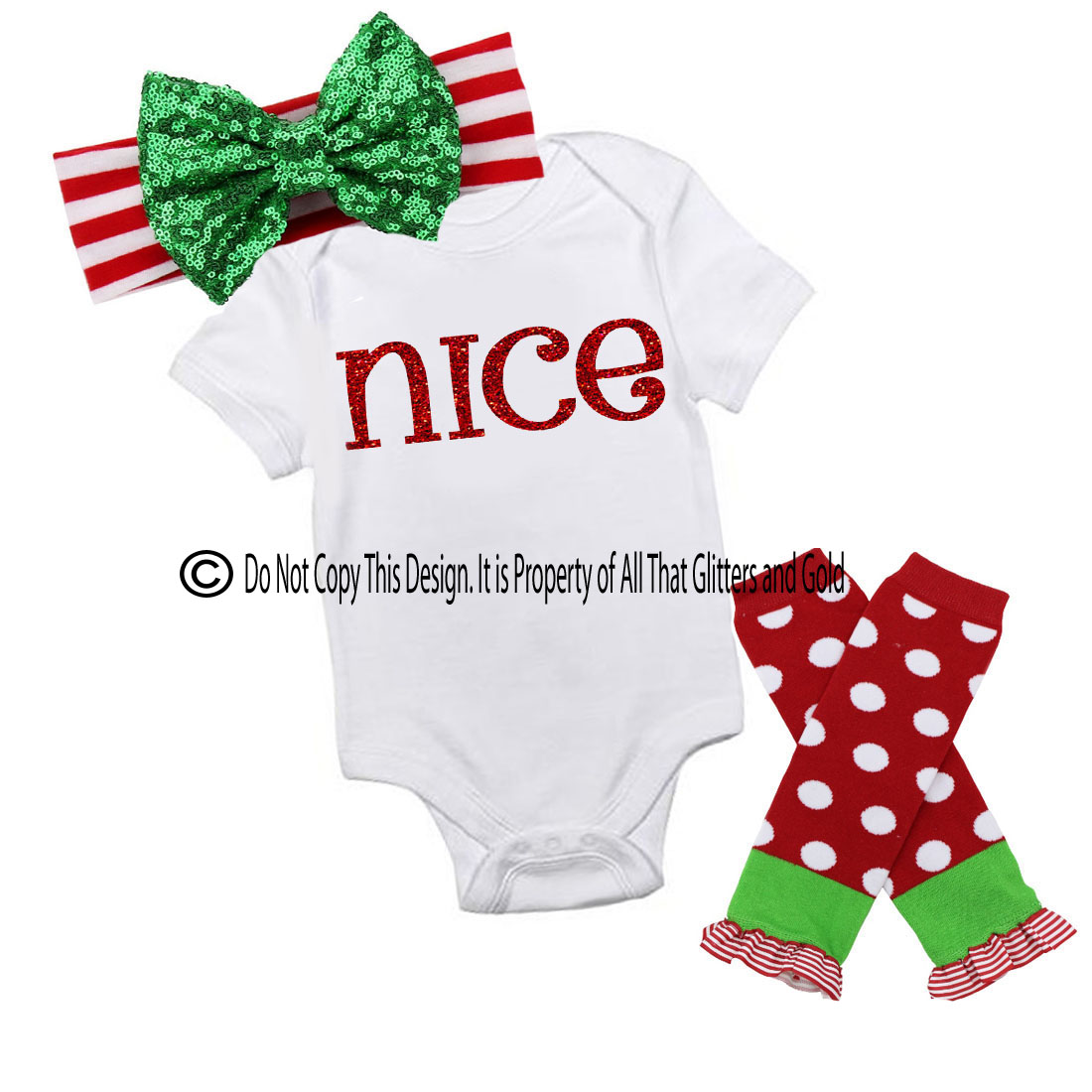 Glitter Nice Handmade Christmas Outfit For Baby Girls and Little Girls