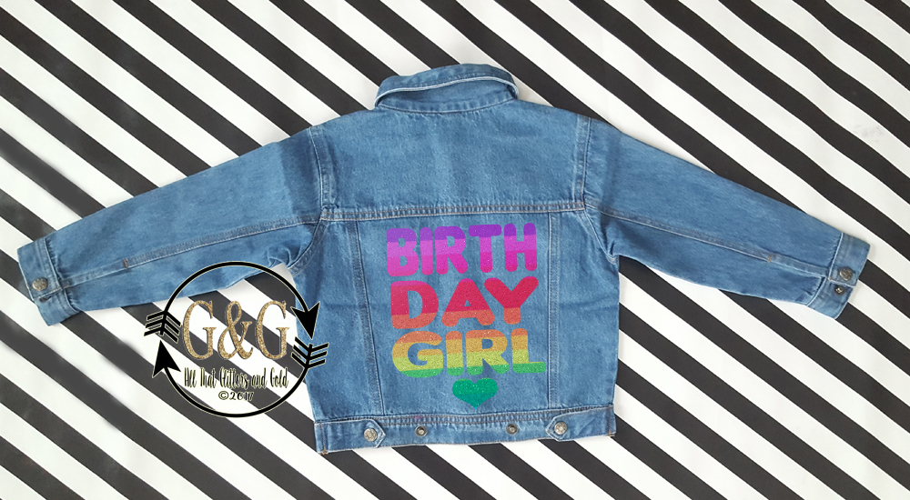 Personalized Glitter Rainbow Birthday Girl Denim Jacket For Babies To Youth