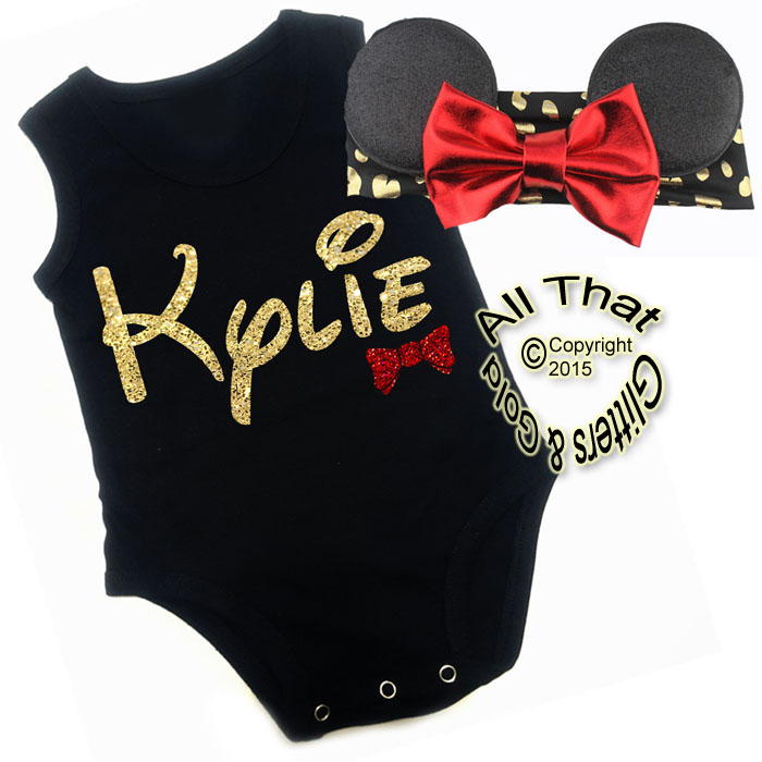 Personalized 2 Pc Black, Red and Gold Glitter Minnie Mouse Girls Outfit