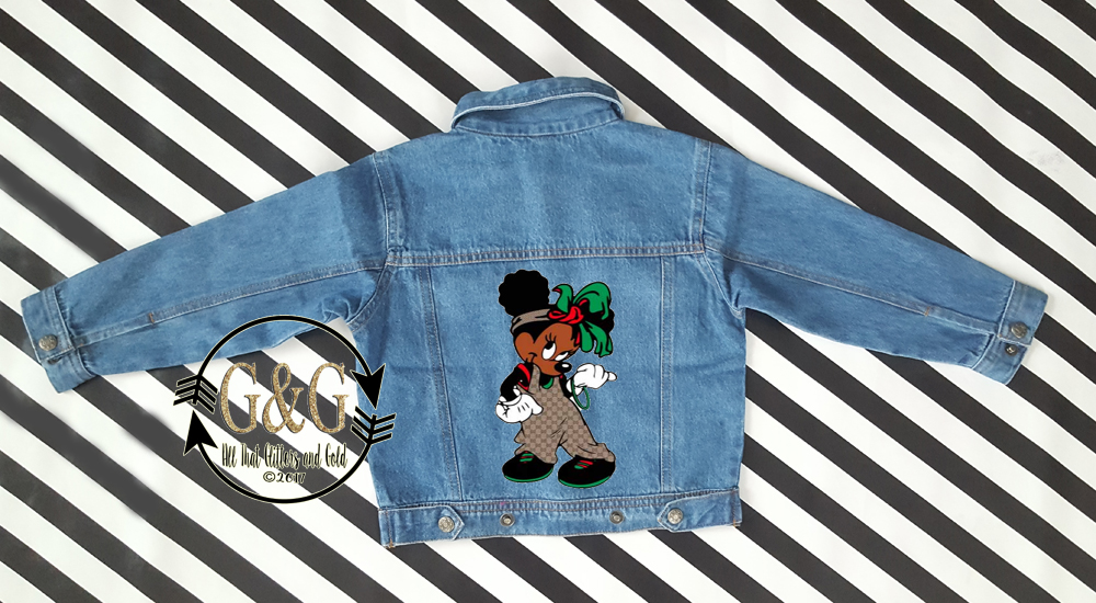 Personalized Afro Puffs Minnie Mouse Inspired Denim Jacket For Babies To Youth
