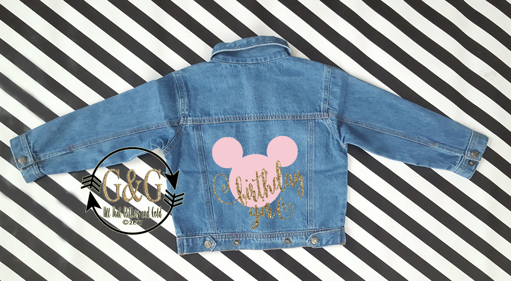 Personalized Minnie Mouse Birthday Girl Denim Jacket For Babies To Youth