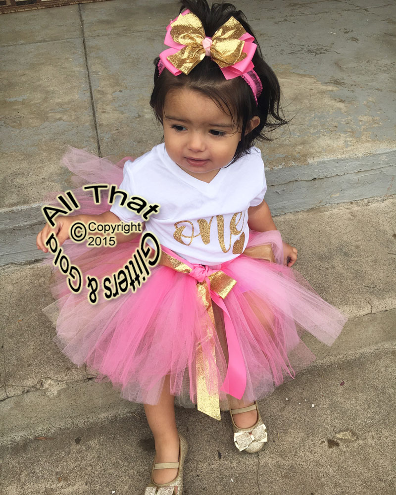 Pink and Gold One Year Old 1st Birthday Tutu Outfit
