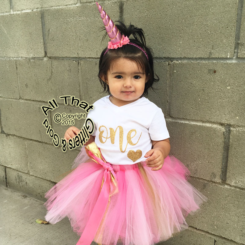 Pink and Gold One Year Old Birthday Tutu Skirt Outfit ...