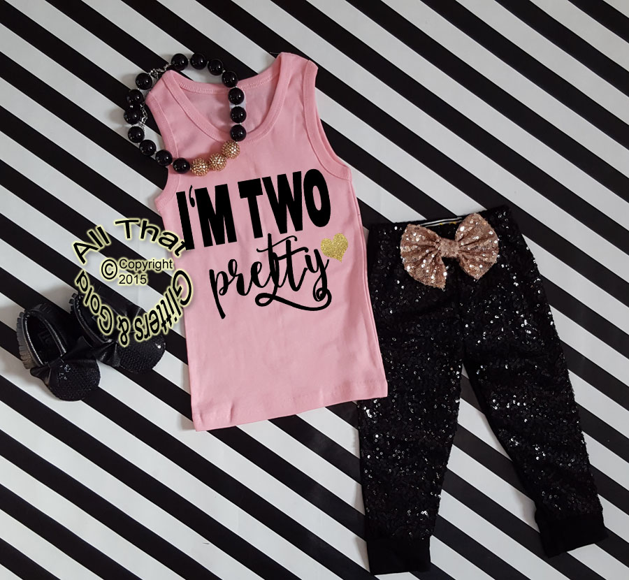 Black and Pink I'm Two Pretty Sequin Birthday Pants Outfit