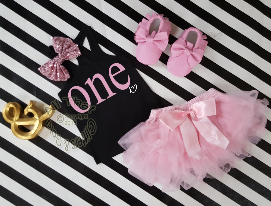 Black And Pink One Year Old Birthday Outfit With Tutu Skirt