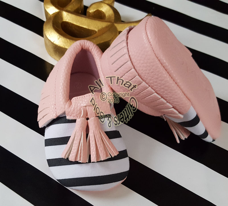 Pink, Black and White Striped Soft Soled Baby Girl Moccasin Shoes With Tassels