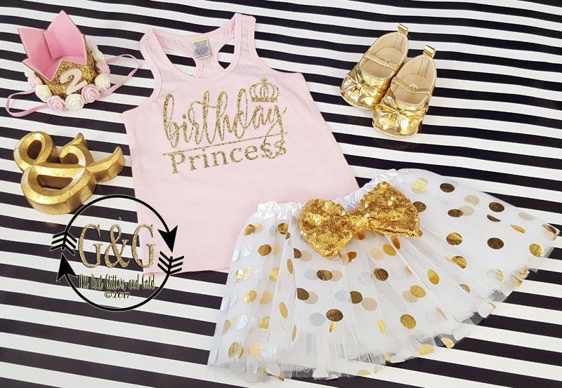 2 pc Pink and Gold Birthday Princess Polka Dot Birthday Tutu Outfit Age 2-3