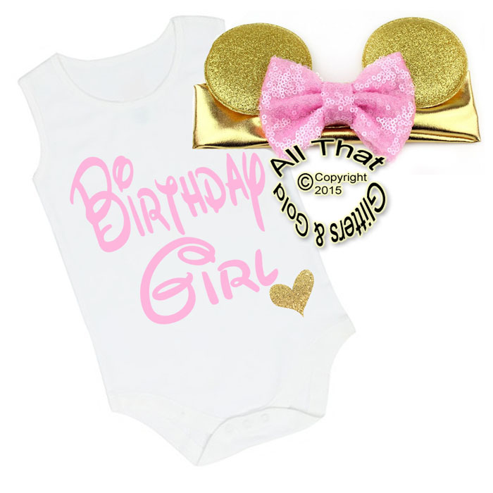2 Pc Pink and Gold Glitter Birthday Girl Minnie Baby Girl Outfit