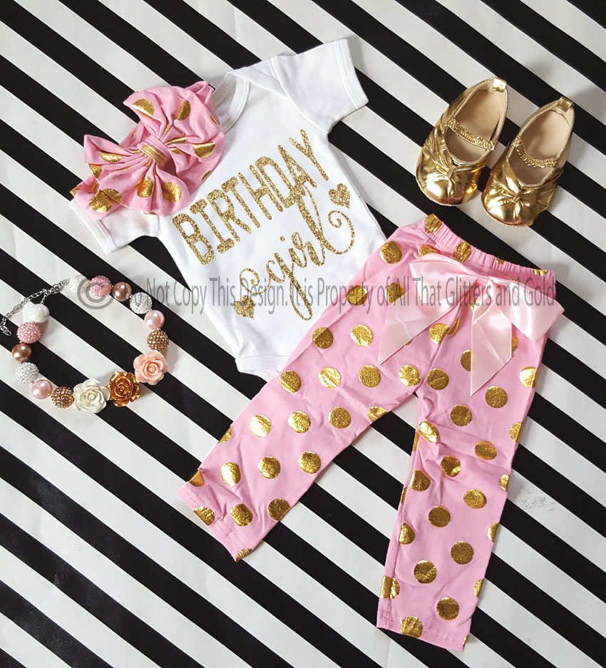 One Year Old Birthday Outfits Pink Gold Glitter Polka