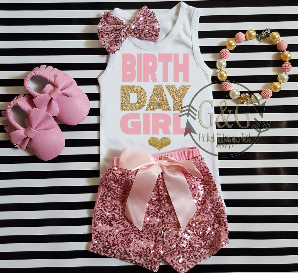 Pink and Gold Birthday Girl Outfit With Pink Sequin Shorts Ages 1-6
