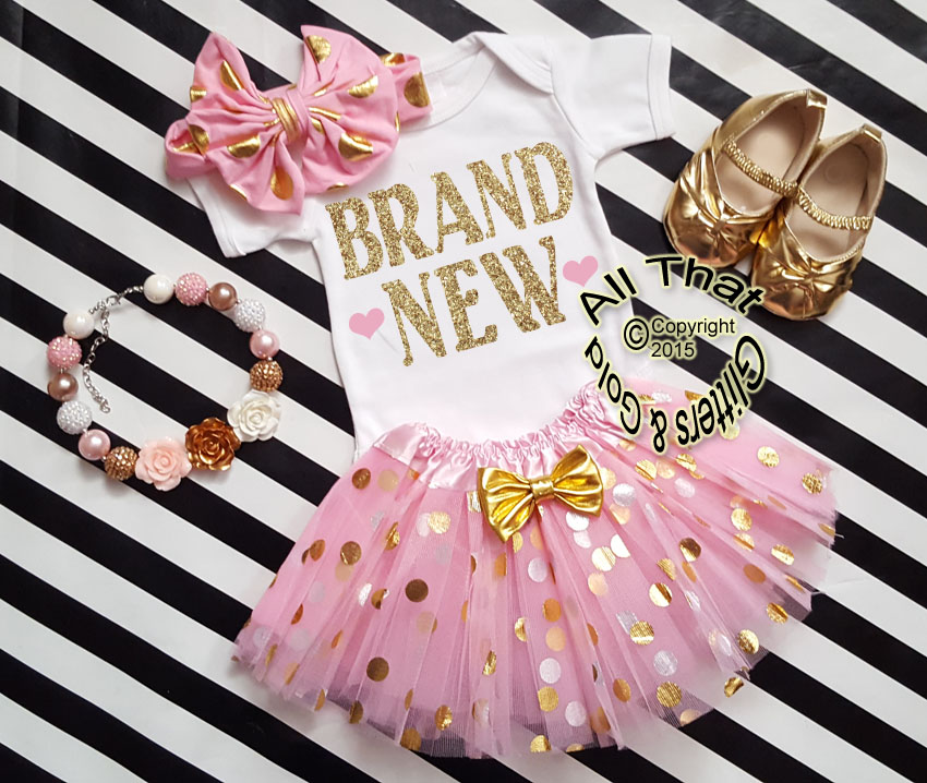 Pink and Gold Brand New Going Home Tutu Outfit For Baby Girl
