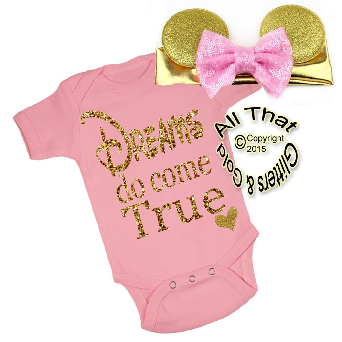 2 Pc Pink and Gold Glitter Dreams Do Come True Minnie Inspired Girls Outfit
