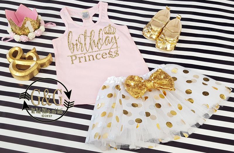 2 pc Pink and Gold Birthday Princess Polka Dot 1st Birthday Tutu Outfit